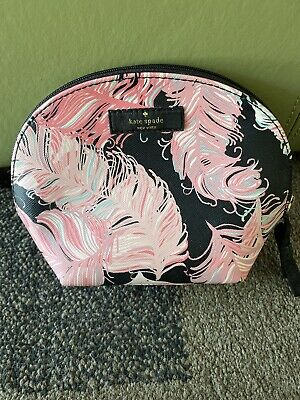 Kate Spade Pink Feather Keri Brightwater Dome Cosmetic Makeup Bag Case Rare!!!