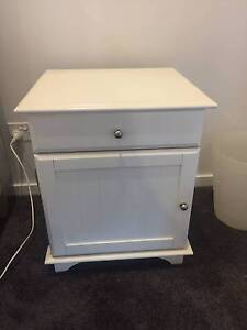 White Bedside Table with Silver Handles Putney Ryde Area Preview