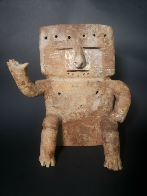 Pre columbian, Quimbaya, Large Terracotta Seated Biscuit Figure, Ca....