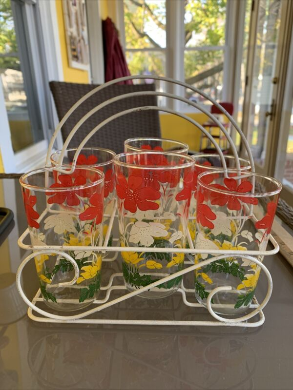 Vintage Lot Of 6 Swanky Swig Glasses With Metal Holder