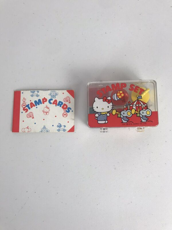Vintage Hello Kitty Stamp Set And Stamps Card Book 1976 Sanrio Co.