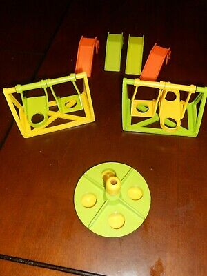 VINTAGE 1970s Fisher Price Little People Lot Swing Sets Slides & Merry Go Round