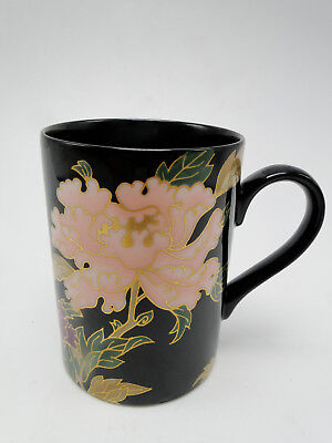 Fitz and Floyd Black Cloisonne Peony Mug 3 7/8in hand painted gold trimmed