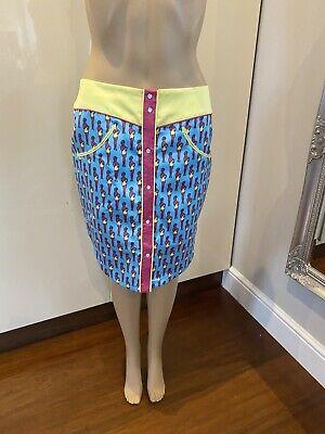 RRP€135 JEREMY SCOTT Trapeze Skirt Size 40 Fringe Trim Colour Block Round Hem