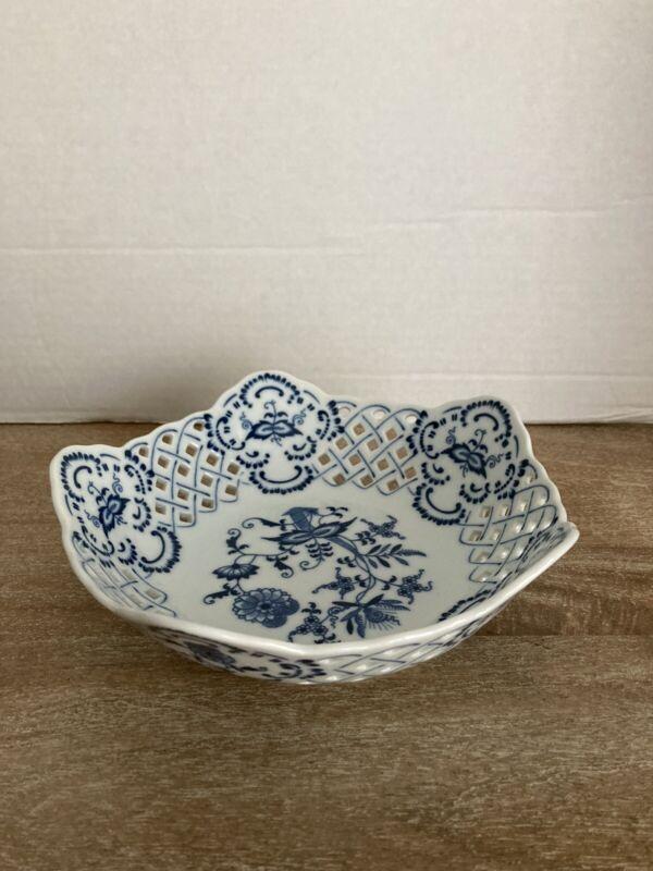 Vintage Blue Danube Pierced Serving Dish