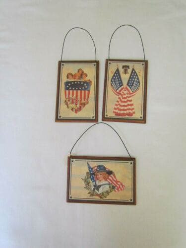 Americana postcard style Ornaments w vintage Graphics 3pc Tender Heart NEW