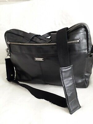 Hidesign Soft Black Leather Bag Men/Womens Work Laptop Travel