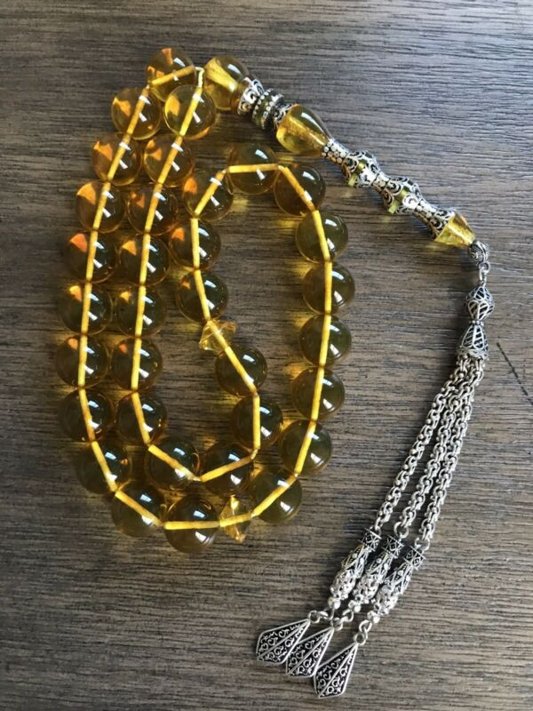 Special Amber 80g Rosary 33 Beads 14mm Silver Inlay مسباح كهرب كهرم امام فضة