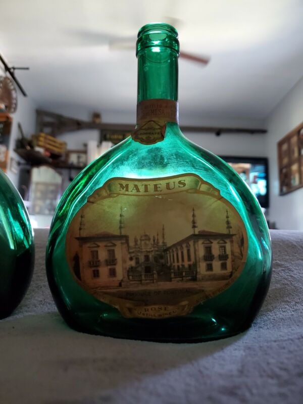 VINTAGE SET OF 2 MATEUS BOTTLES ~ DECORATIVE ANTIQUE GREEN WINE BOTTLES
