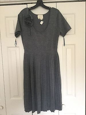 NWT Kate Spade Gray Flower Sweater Dress L