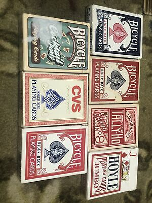 Vintage Playing Cards Lot Of 7 Bicycle Tally-ho Hoyle