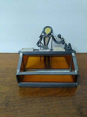 Vintage Metal Stained Glass Hand Crafted Insurance Sales Business Card Holder