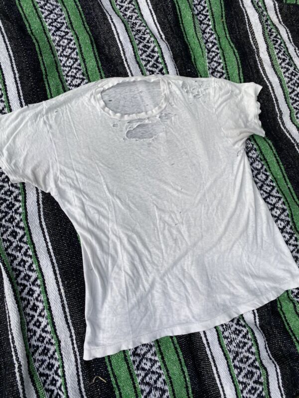 Vintage Distressed Plain White T Shirt