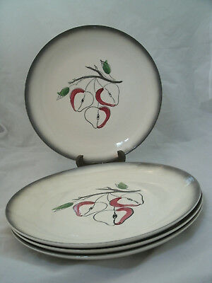 "Vtg Blue Ridge Southern Potteries FANTASY APPLE Set of 4-10 1/4"" Dinner Plates"