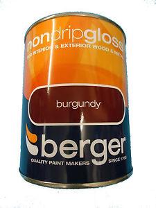 Berger Non Drip Gloss For Interior Exterior Wood Metal Burgundy Paint Ebay
