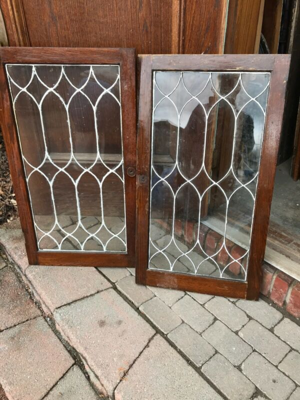 Sg 3222 Two available price to each leaded glass cabinet door Antique 21.25 x 38