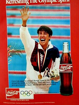 Janet Evans The Olympic Spirit 1992 Classic Coke Original Print Ad 8.5 x 11""