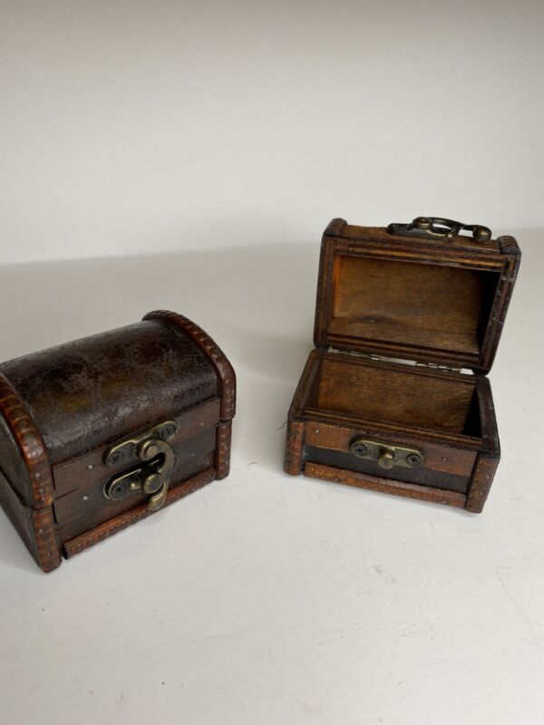 Trunk Box Wood Small Brass Colored Accent Vintage Antique Like Pair