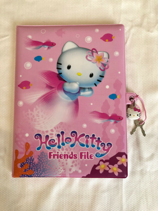 VINTAGE SANRIO HELLO KITTY PADDED FRIENDS FILE NOTEBOOK LOCK KEYS & STICKERS NEW