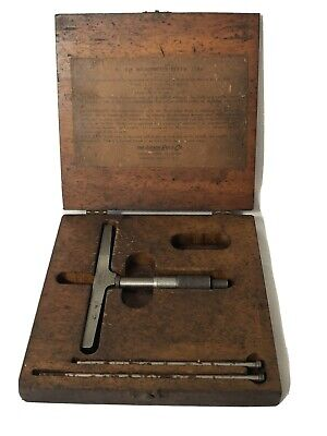 Vintage Lufkin 515 Depth Gage Original Wood Box Machinist Tool Usa