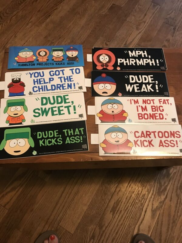 NEW  Lot Of 8 Vintage South Park Comedy Central 1998 Stickers Decal Lot