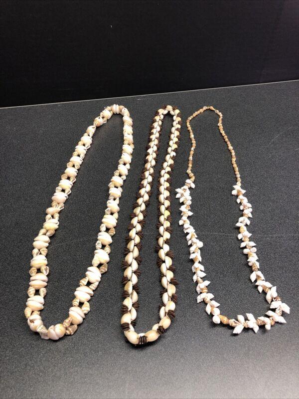 "3 Vintage Hawaiian puka ,Momi and Koa seed Shell Necklaces 34"",34"", 36"" Leis"