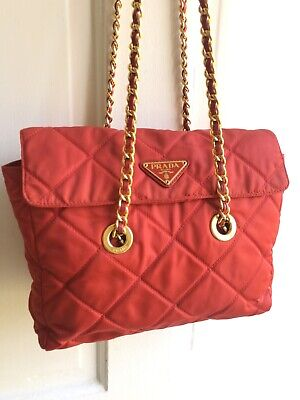 auth vintage Prada orange nylon quilted tessuto gold chain logo shoulder bag