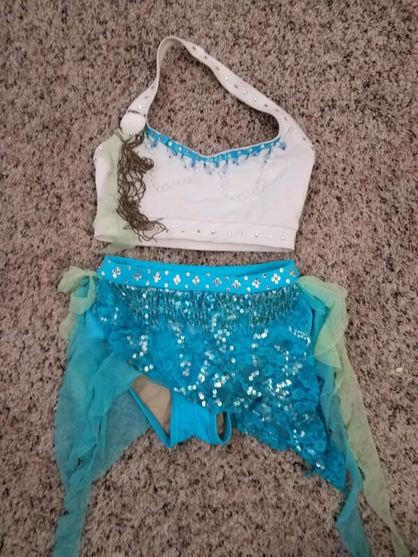 Contours and Natalie 2 piece White/blue Dance Costume Child Large Jazz Solo