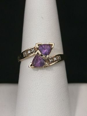 Unique 10k Yellow Gold Amethyst and Diamond Best Friend Ring. Make Offer!