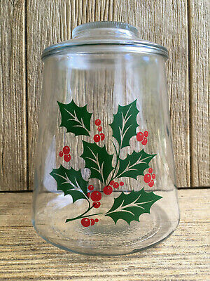 Bartlett Collins Glass Christmas Holly Cookie Canister Jar Vintage Kitchen