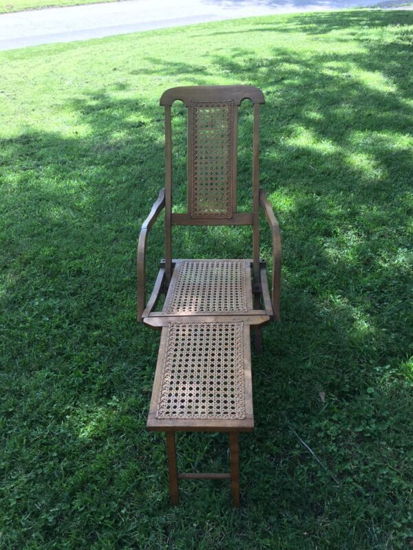 Antique Cruise Deck Chaise Lounge Folding Chair With Cane Seat