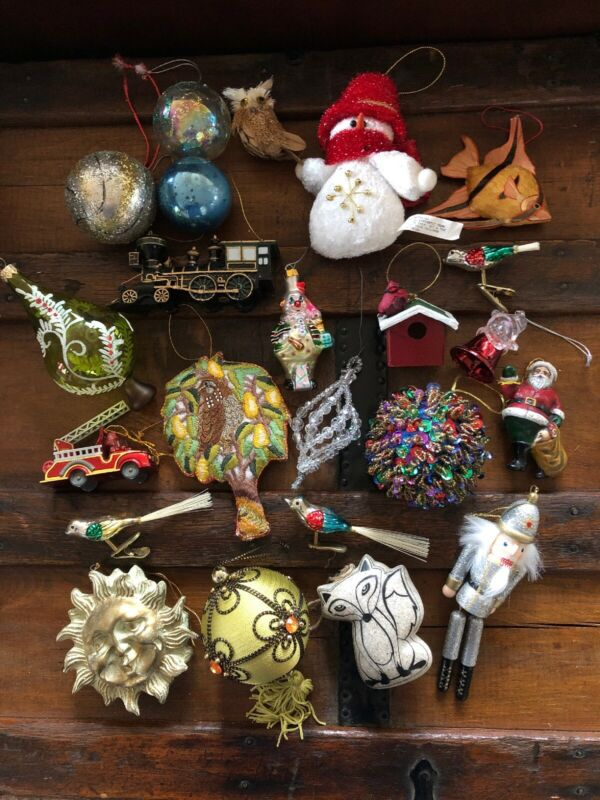 Lot of 23 Assorted Vintage Christmas Ornaments~~Sequins/Beaded/glass/Owls/Train