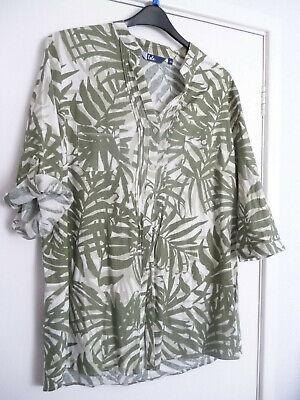 Womens EWM 'Isle' Green Leaf Pattern Buttoned Blouse Long/Mid Sleeved Size UK 20