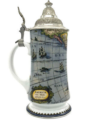 Vintage Old World Porcelain Beer Stein Lidded Footed Dutch Map Of The Americas