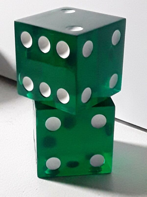 "2"" Big Green Transparent Gambling Dice Pair 50mm (Set of 2) Vintage"