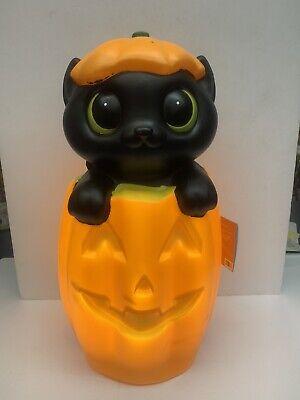 "Halloween Black Cat Jack o Lantern Blow Mold Pumpkin JOL LED Battery 18""tall"