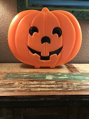 "VINTAGE LARGE FLAT HALLOWEEN BLOW MOLD PUMPKIN 20"" X 16"" LIGHTS UP No Cord"