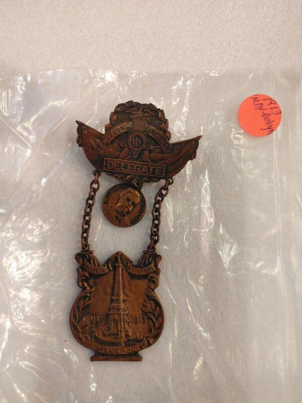 Civil War GAR 1913 Indpls. Ind. GAR Delegate Medal/Badge No Ribbon