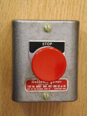 Vtg. Bellows-valvair A8607 Industrial Stop Switch Push Button Electrical Control