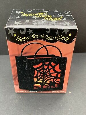 Halloween Candle Holder tealight metal bag spider web house decor spooky costco
