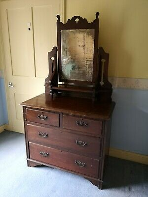 Antique Edwardian Art Nouveau Dressing Chest/Table with Swing Mirror