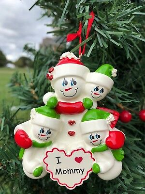 NAME PERSONALIZED Single Parent Mom with 3 Children Christmas Tree Ornament GIFT ()