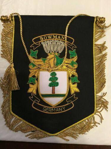 Germany Bowman Crest Heraldry Family  Banner (Gold & Silver Bullion)