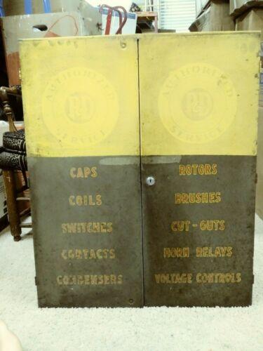 Vintage Industrial Distressed Metal P&D Ignition Parts Cabinet Auto Shop w Key