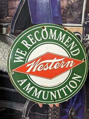 OLD VINTAGE WINCHESTER WESTERN AMMUNITION PORCELAIN GUN AMMO SIGN REMINGTON