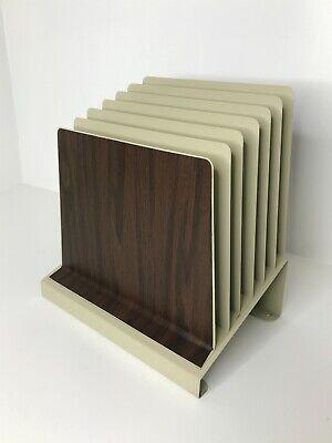 Vintage Mid Century Metal Desk File Sorter Organizer Ascending 6 Slots Tan