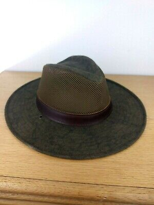 Henschel Men's Packable Green Brown Aussie Breezer Safari Hat Medium No Strap