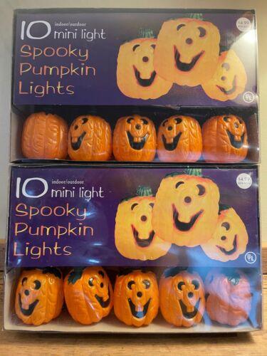 Two (2) Halloween Jack-O-Lantern PUMPKIN 10 Count String Light Sets Blow Mold