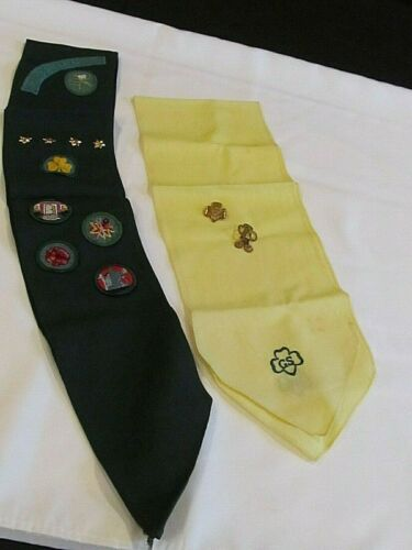 Vintage Girl Scout Sash, Scarf, Pins and Knife
