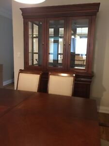 Solid wood dining set with hutch